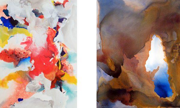 "Sue Burke Harrington Left: ""Evening Light,"" 2014, acrylic on canvas, 40 x 30"" Right: ""Windows,"" 2015, acrylic on canvas, 40 x 30"""