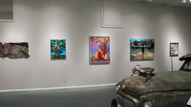 """11th Annual Open Call Show, """"Lives Matter"""", Installation view Art Car Museum, 2016"""