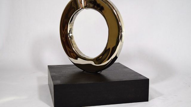 """Tim Glover, """"Split Ring"""" (Polished), 2016, steel, nickel plate, 11"""" x 11"""" x 2"""", Collection of Katy Haute"""
