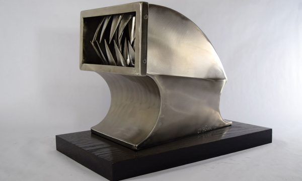 """Tim Glover, """"Air Head"""" (For Big Daddy and Bonticou), 2016, stainless steel, 13"""" x17"""" x 15"""""""