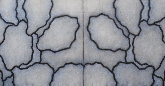 """Randall McCabe, """"Untitled"""", 2015, charcoal & oil on panel, 14"""" x 48"""""""