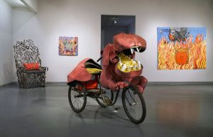 """12th Annual Open Call Exhibition, """"Trump THIS!"""", installation view at the Art Car Museum, 2017"""