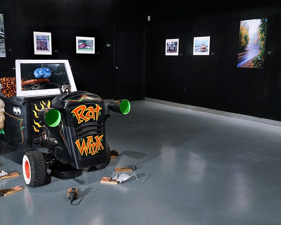"""Rat Rod Review"", installation view at the Art Car Museum, 2017 – 2018"