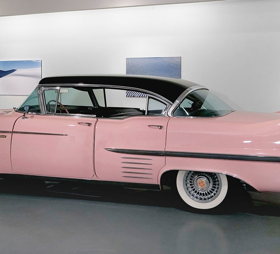 """""""Pink Cadillac"""" by Ann Harithas, FotoFest 2018, installation view Art Car Museum 2018"""