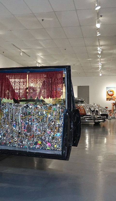 """Susan Venus, """"Venus Hairse Cataillic"""", (hand painted by Beans Barton): """"Celebration of Art Cars"""", 20th Anniversary of the Art Car Museum, installation view, 2018"""