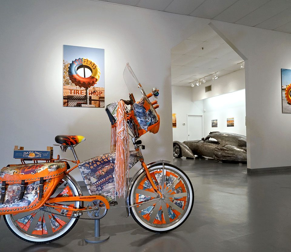 """T. Mitchell Jones, """"Roadside Attraction"""": """"Celebration of Art Cars"""", 20th Anniversary of the Art Car Museum, installation view, 2018"""