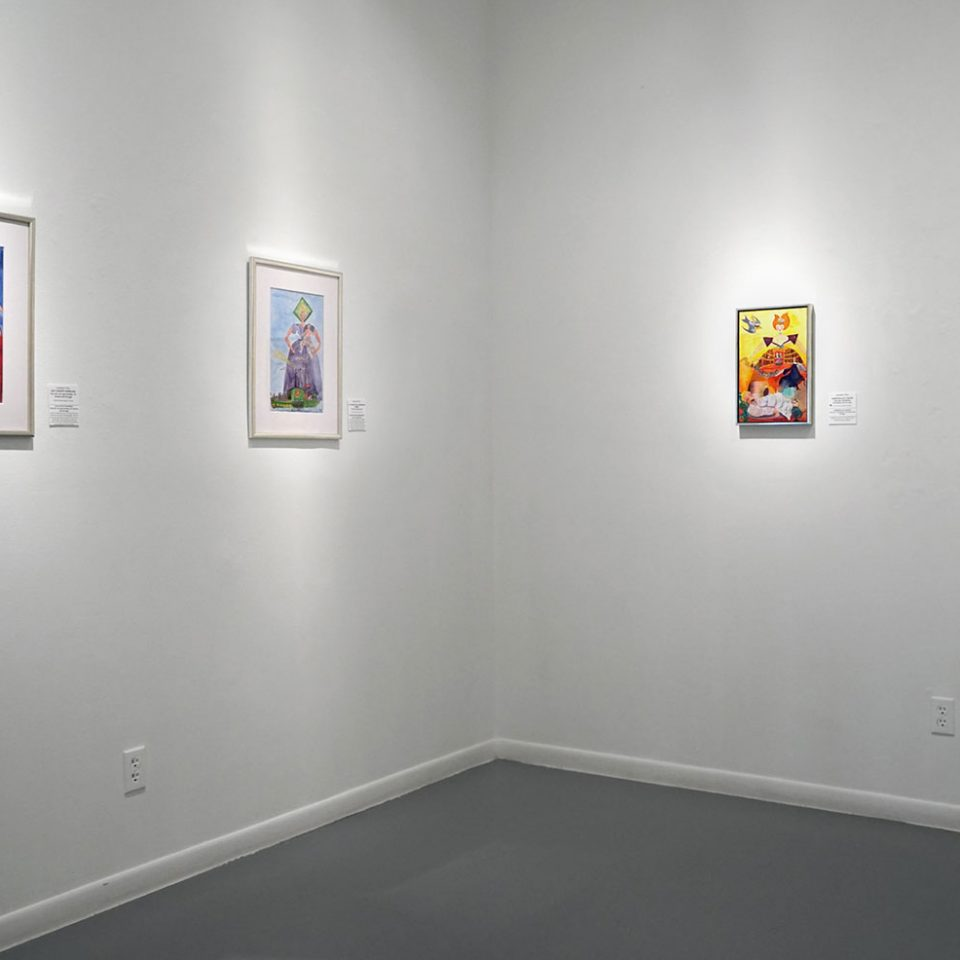 """Susanne Thea, """"SNAPSHOTS: Traveling with the Poet, Hans Christian Andersen"""", installation view at the Art Car Museum, 2019"""