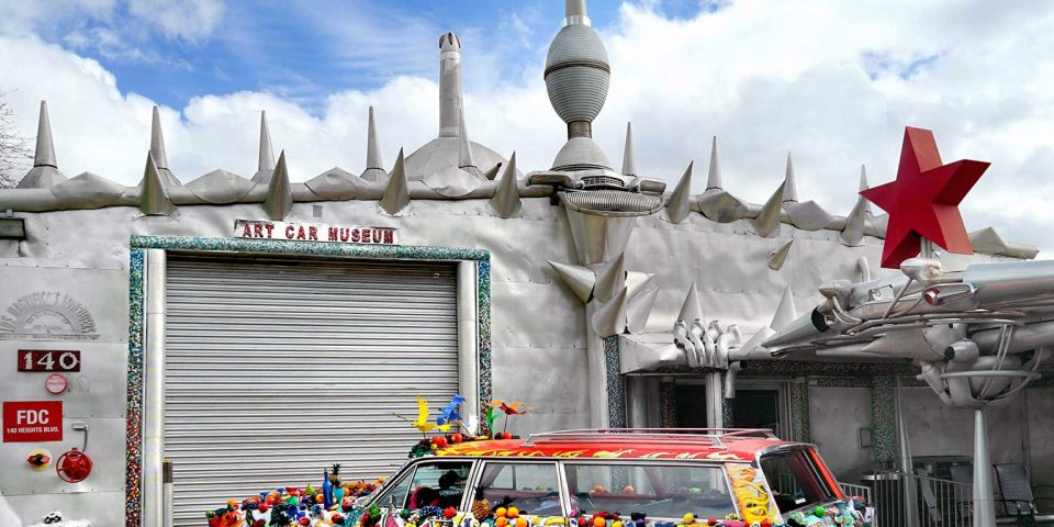 "Front of the Art Car Museum w/ ""Fruitmobile"" by Jackie Harris"